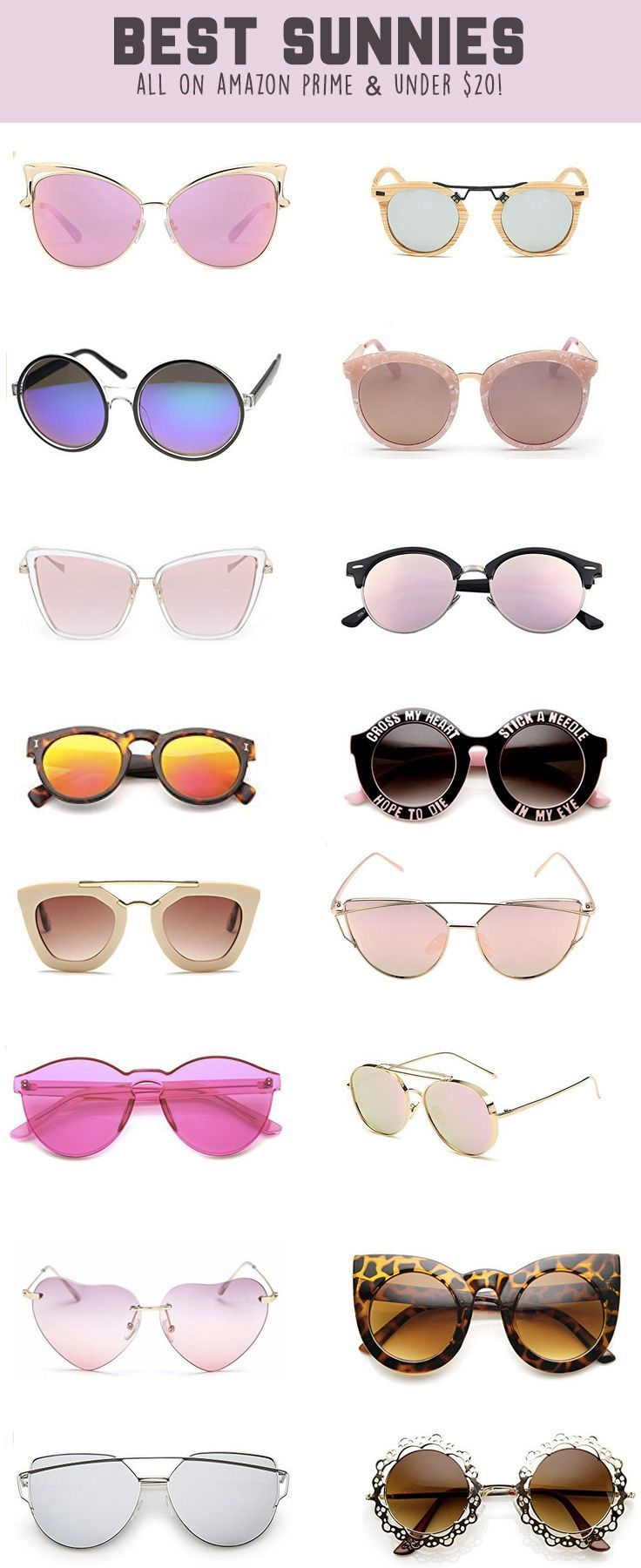 dfe98dbc02163 Cute women s sunglasses on a budget! All of these sunglasses are under  20  on Amazon prime, lots are even under  10! The cutest rose gold, vintage,  cat eye, ...