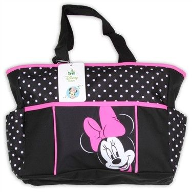c131bf7b12a Disney Baby Minnie Mouse Black Diaper Bag With Pink Trim.