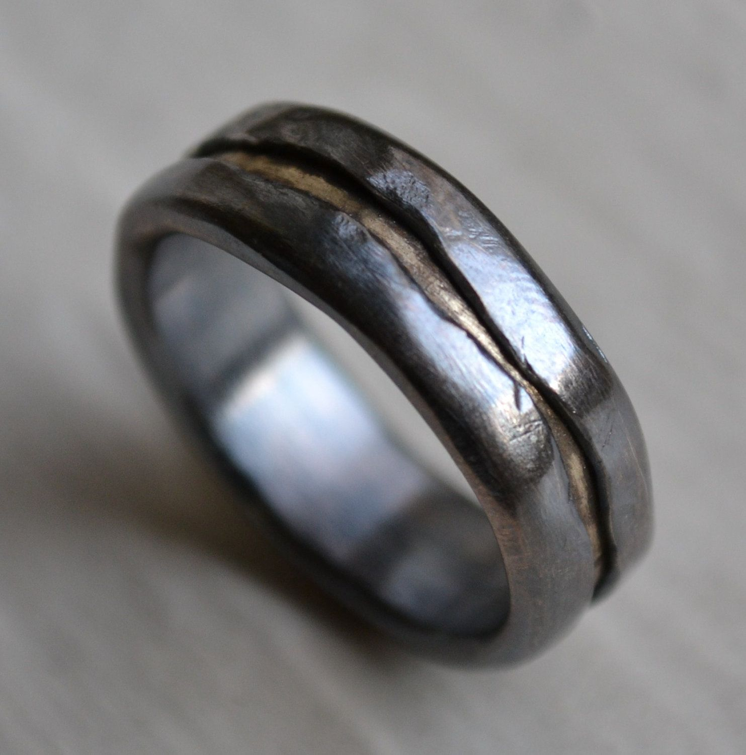 mens wedding band rustic fine silver and solid 14k yellow gold ring handmade oxidized artisan designed wedding band customized - Unique Wedding Rings For Men