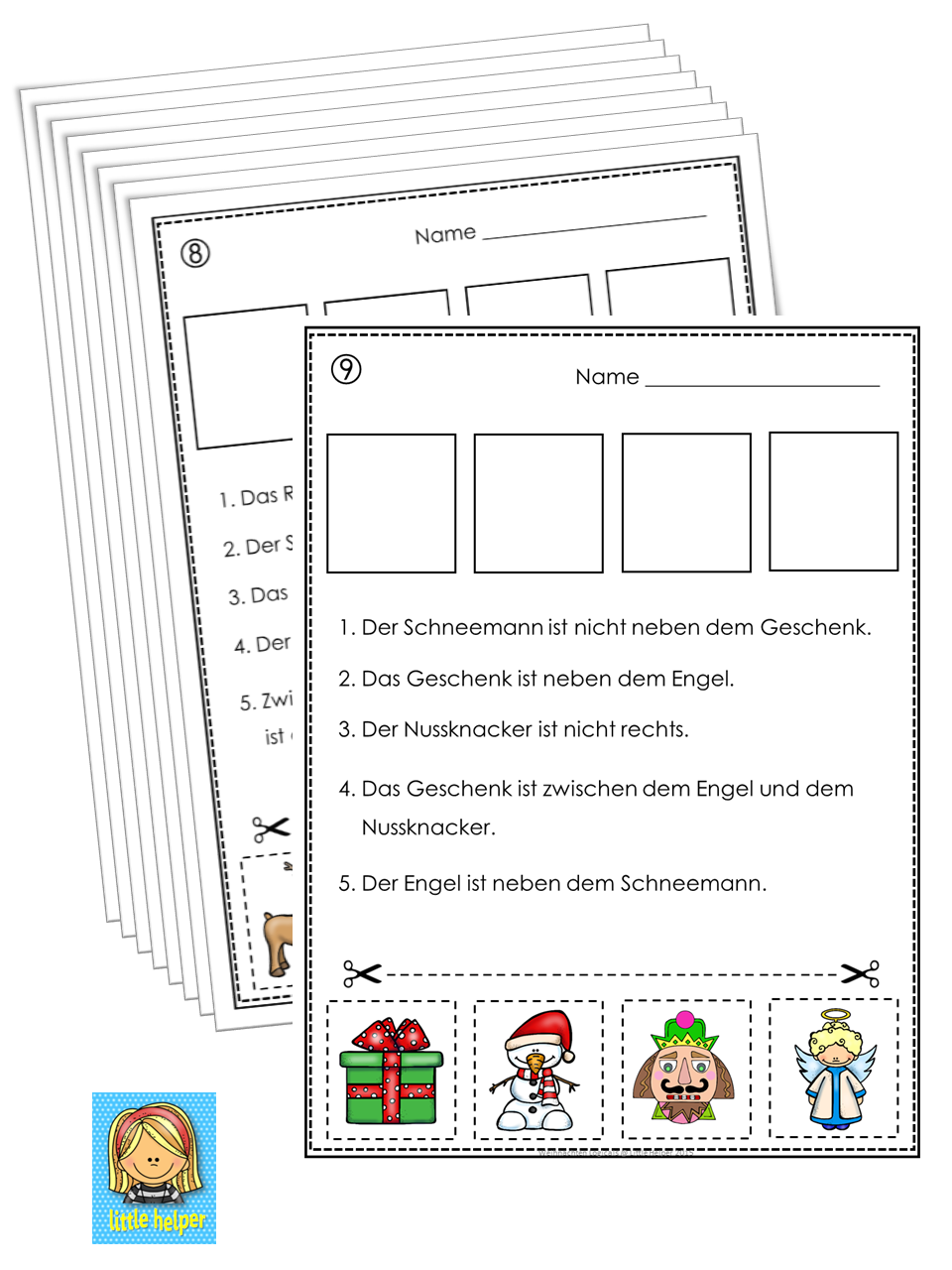 german christmas cut and paste logic puzzles - Christmas Logic Puzzles
