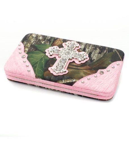 Mossy Oak Camo Ladies Clutch Wallet Rhinestones Checkbook Holder