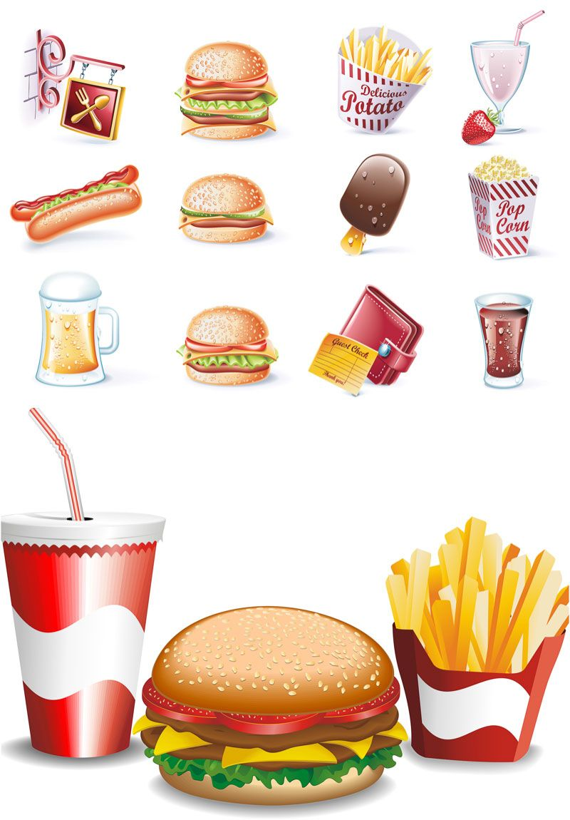 Fast food vector. Set of vector fast food icons and