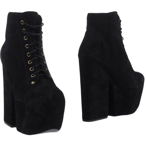 Jeffrey Campbell Ankle Boots (£113) ❤ liked on Polyvore featuring shoes, boots, ankle booties, black, black ankle booties, bootie boots, black leather booties, ankle boots and leather bootie