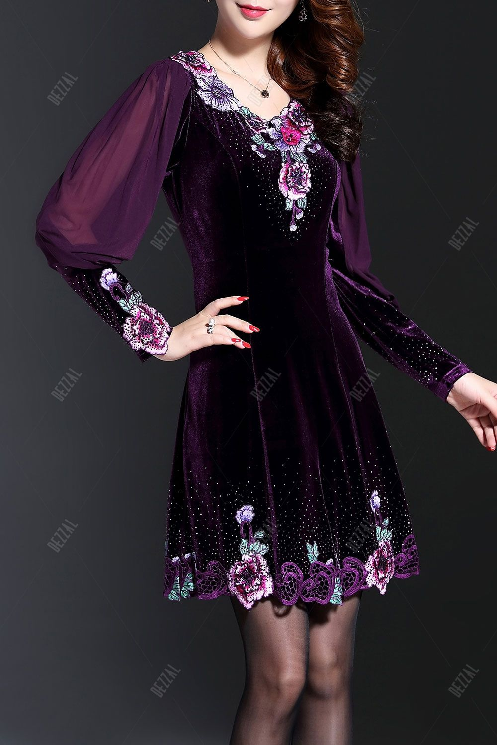 Long sleeve embroidered velvet dress clothes mini dresses and
