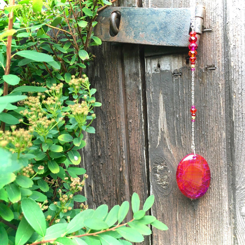 Orange suncatcher, orange agate, dragon vein agate, gemstone ...