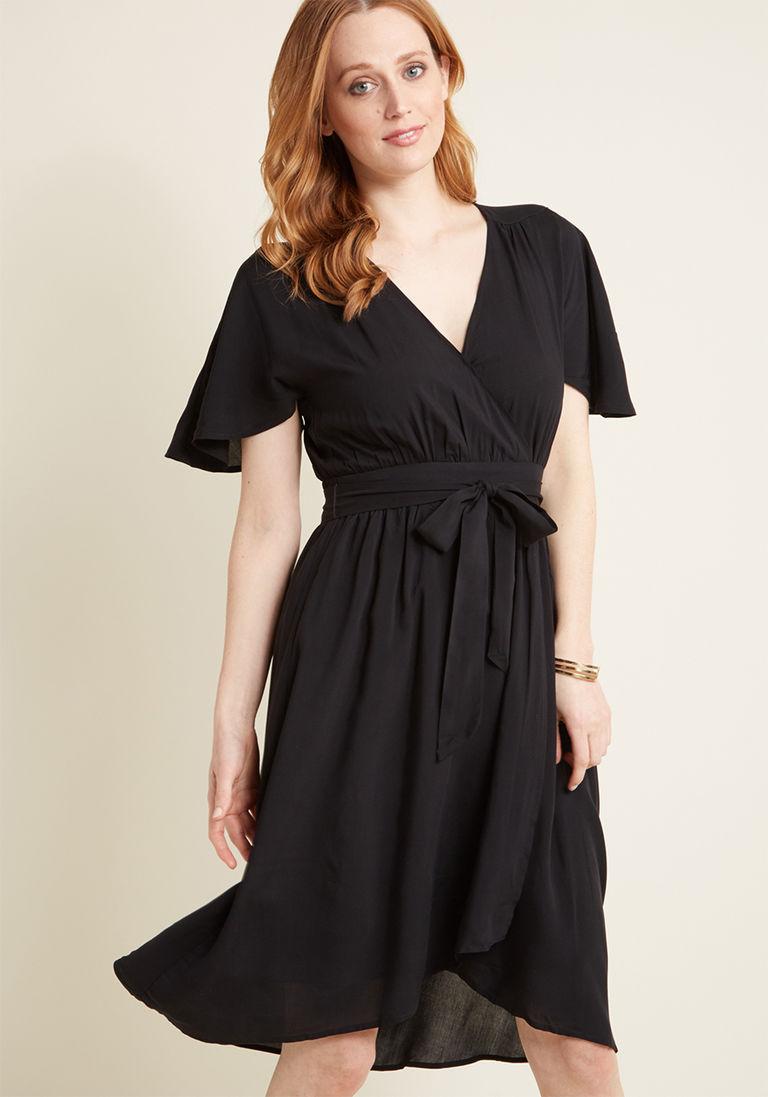 Romantic Renewal Faux Wrap Dress In Black Wrap Dress Dresses Flattering Dresses [ 1097 x 768 Pixel ]