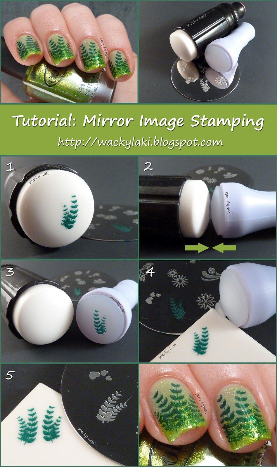 Tutorial mirror image stamping nail art pinterest mirror