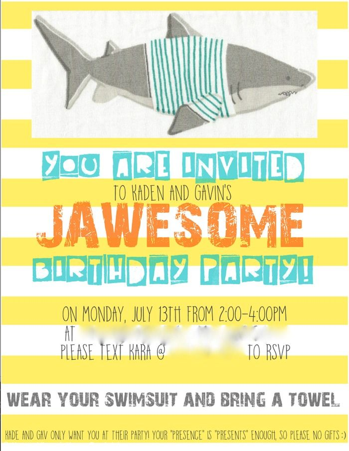 Jawesome shark themed birthday party invitation by Karas Party