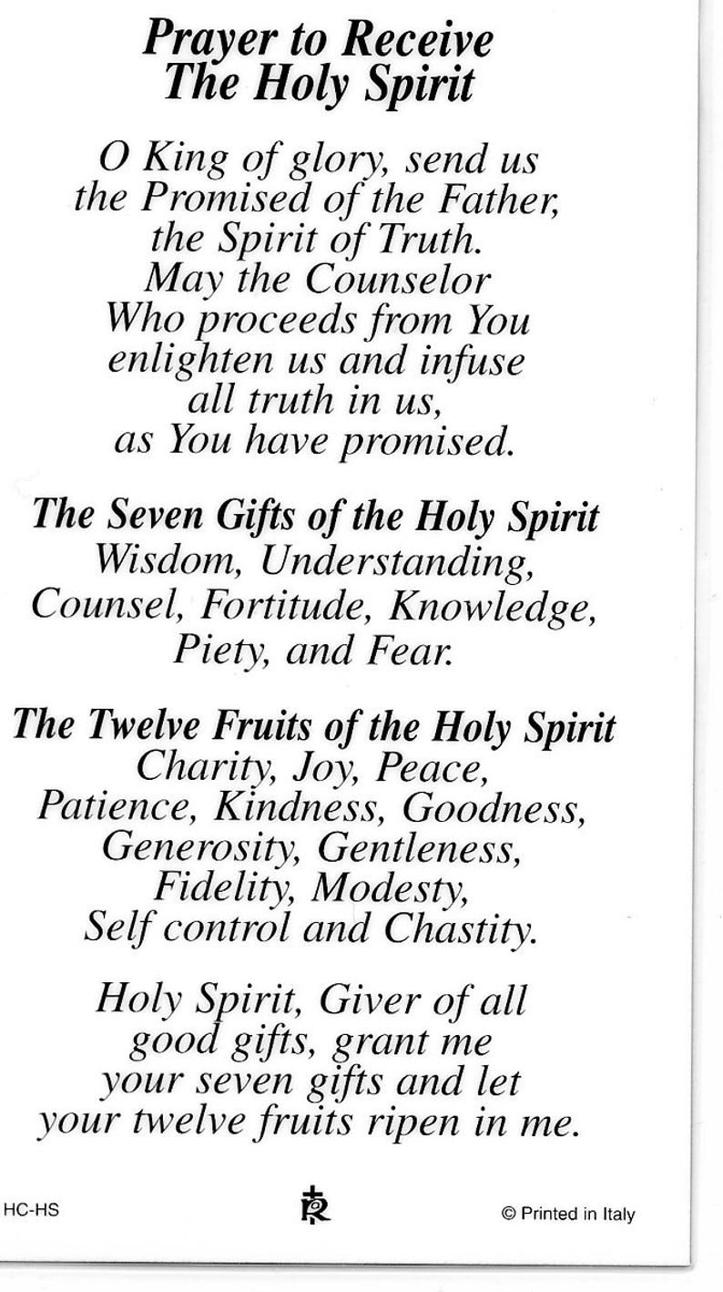 Prayer To Receive The Holy Spirit - Holy card - Pr