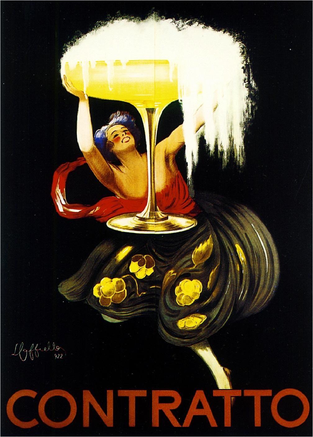 A3 A2 Contratto ChampagneVintage PosterA1