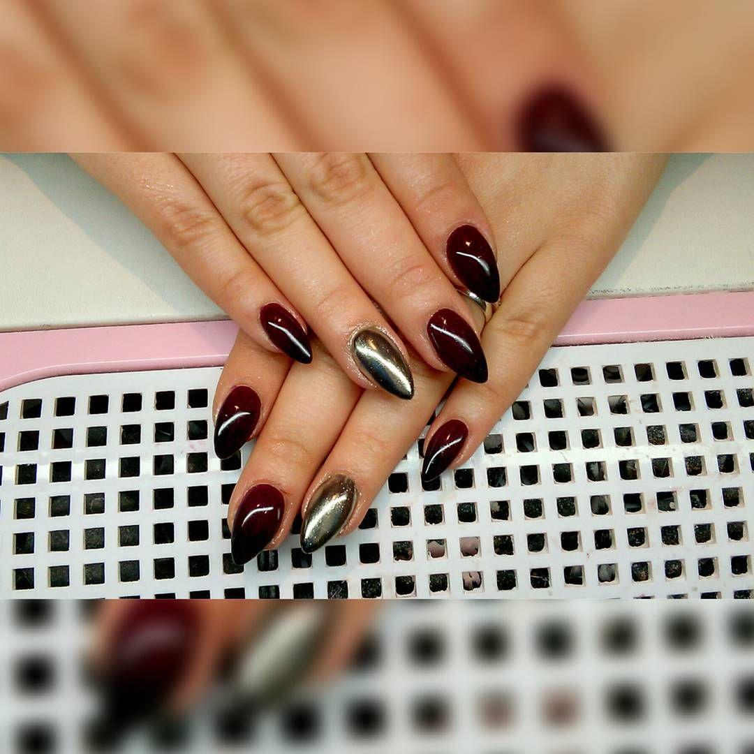 Paznokcie Pazurki Black Sliwka Ombre Silver Manicure Nails