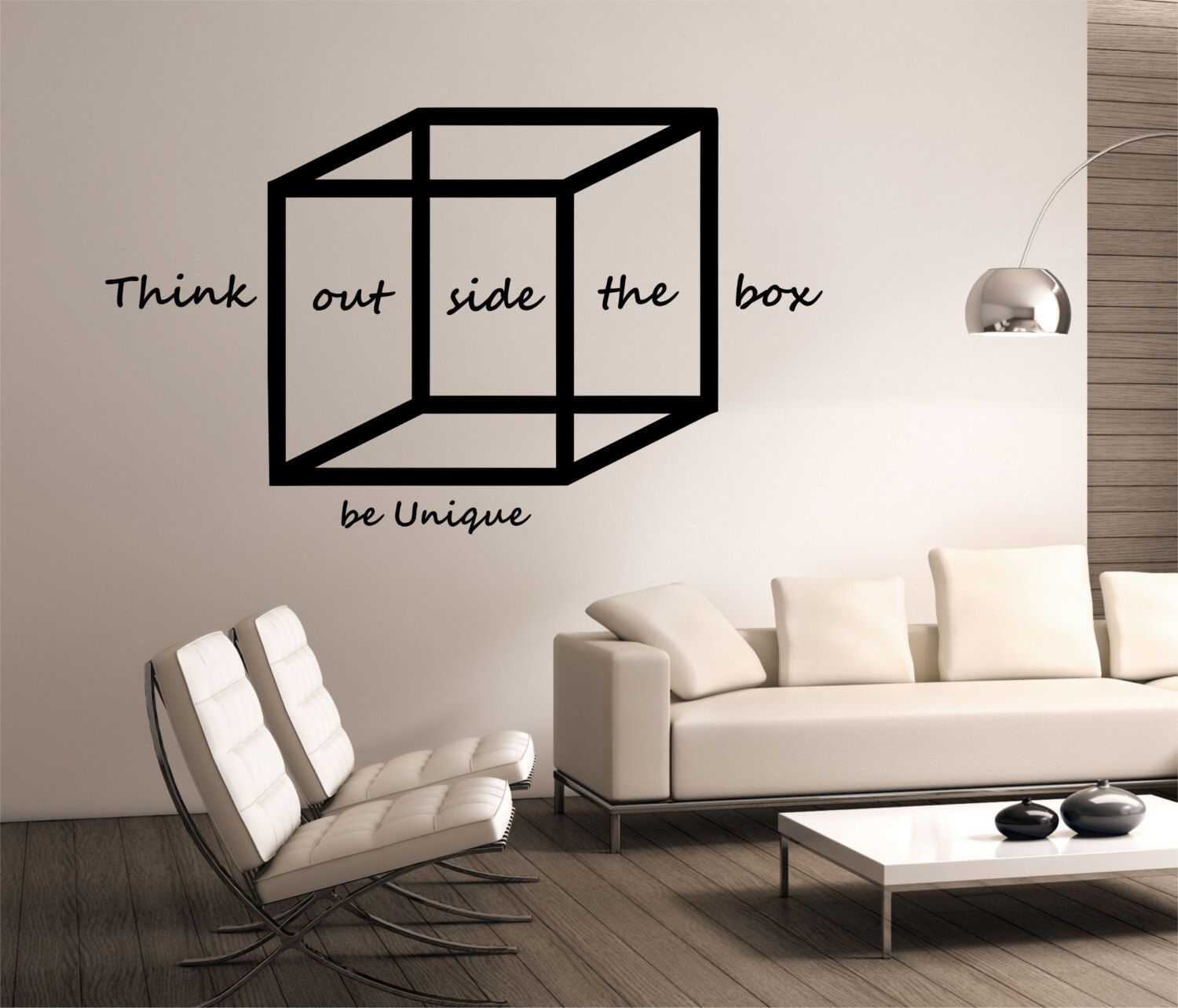 Think Outside The Box Wall Decal WITH QUOTE Design Mural Interior Science Education Art Educational