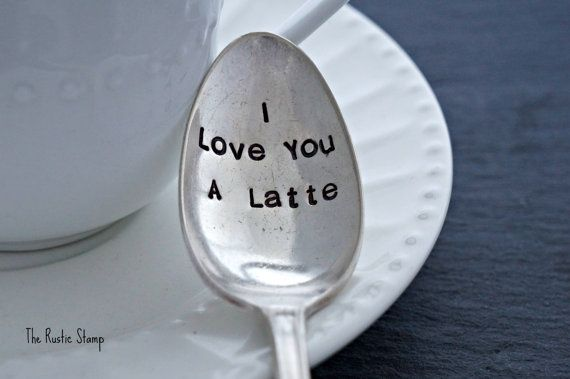 """Stunning hand stamped spoon /""""I love you a latte/"""" Personalised Unique Gift"""