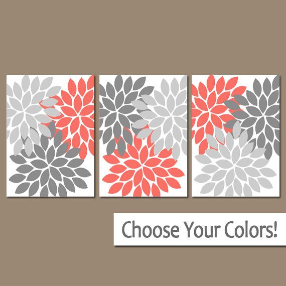 Coral Gray Wall Art Bedroom Pictures Coral Gray Bathroom Artwork Baby Girl Nursery Flower Burst Dahlia Set Aqua Wall Art Coral Wall Art Bathroom Wall Art