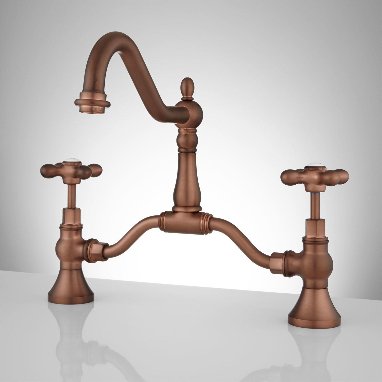 Elnora Bridge Bathroom Faucet - Cross Handles - Overflow - Antique ...