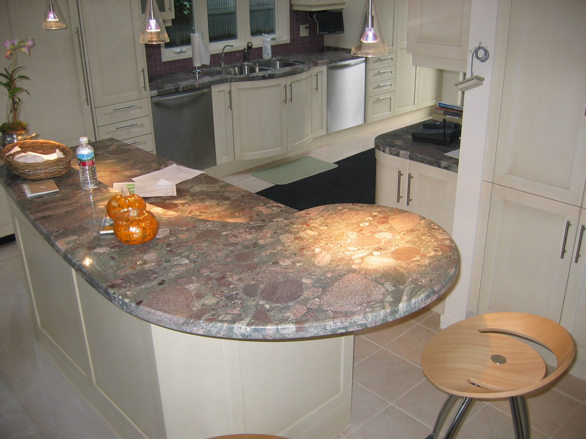 Best Unique Fossil Like Stone Kitchen Countertop With Pinks 640 x 480