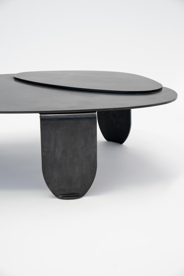 - Black Modern/Contemporary Blackened Steel Circular/Organic Shape