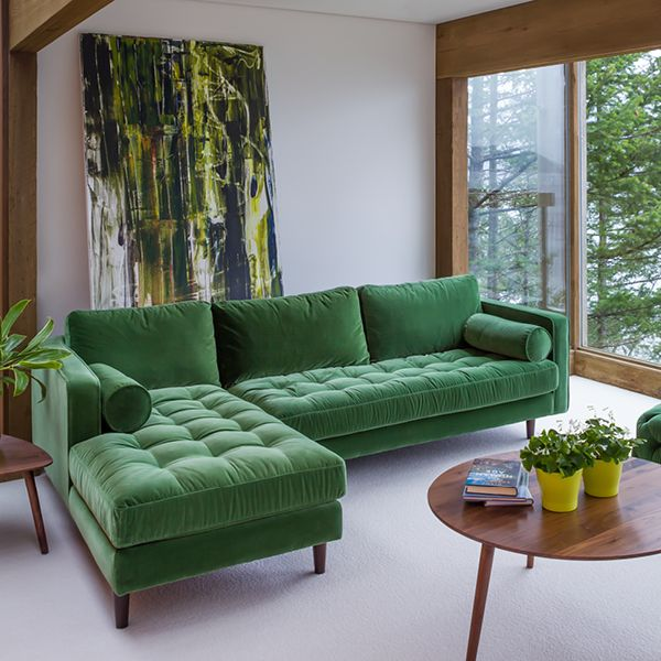 Sven Grass Green Left Sectional Sofa images