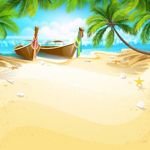 Tropical Islands Holiday Background Design Vector 02 In 2021 Background Design Vector Island Art Holiday Background