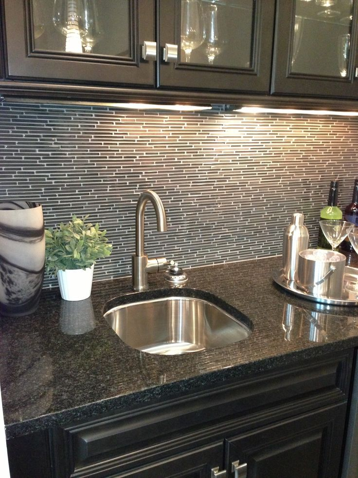 Captivating Wet Bar In Media Room Backsplash