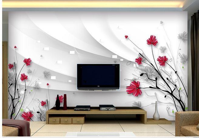 3d Wallpaper 3d Tv Wall Paper Beautiful Flowers Hd Hand Painted Line 3 D Tv Setting Wall Wallpaper Affili Home Wallpaper Wall Wallpaper Custom Photo Wallpaper