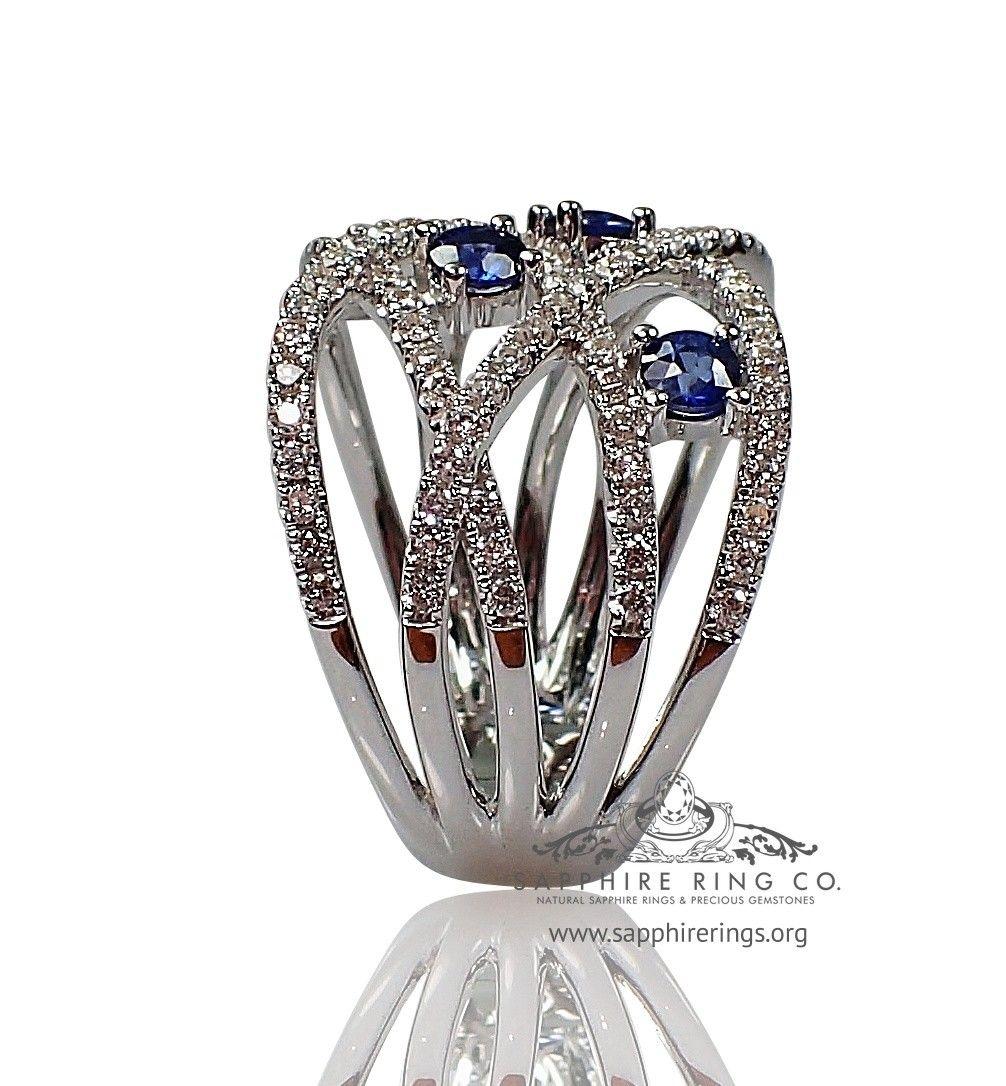 1 16 Tcw 18kt White Gold Sapphire Diamond Custom Made Wedding Band