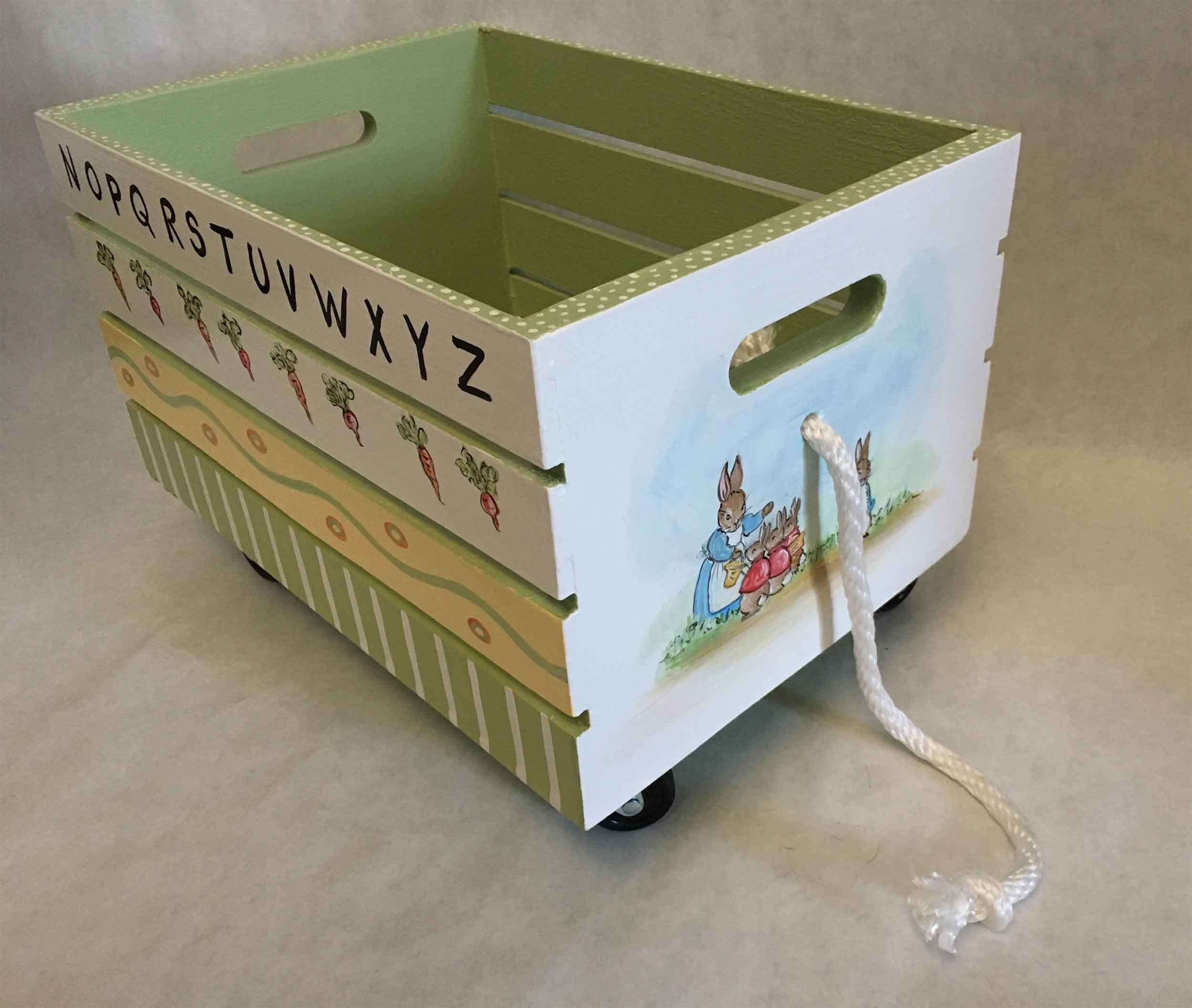 Peter Rabbit Toy Box Crate Book Box Crate Book Storage Kids Book Box Kids Toy Storage Hand Painted Toy Box Crate Kid Toy Storage Painted Toy Boxes Painting Kids Furniture
