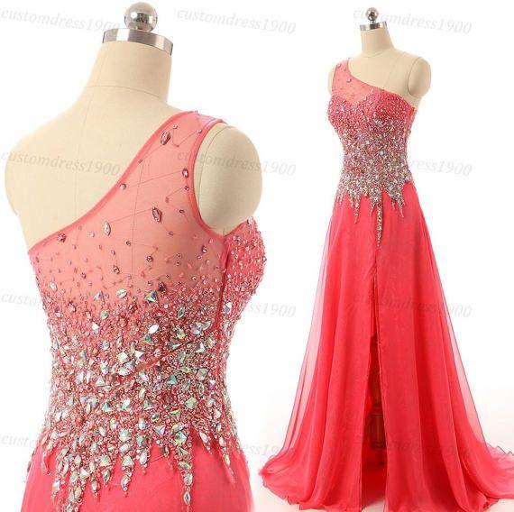 Dark blush prom dresscoral long bridesmaid by customdress1900