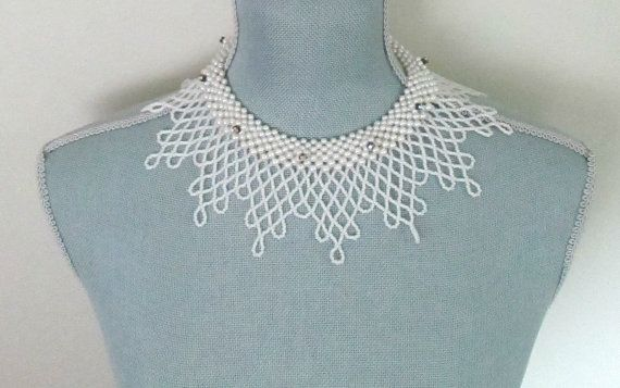 Beads and Pearls Collar Necklace Aurora by looseendsvintage, $48.00