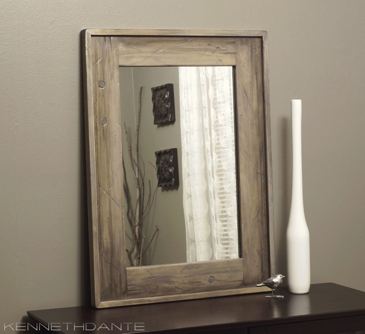 Bathroom Mirror Wood Distressed Driftwood Weathered Taupe