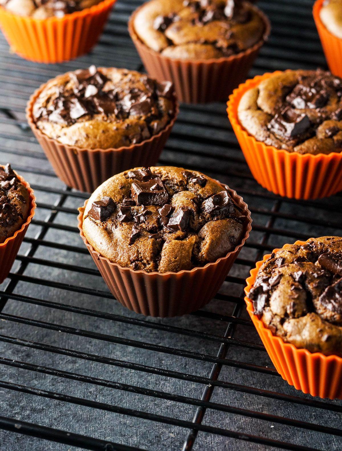 Paleo Double Chocolate Pumpkin Muffins #pumpkinmuffins