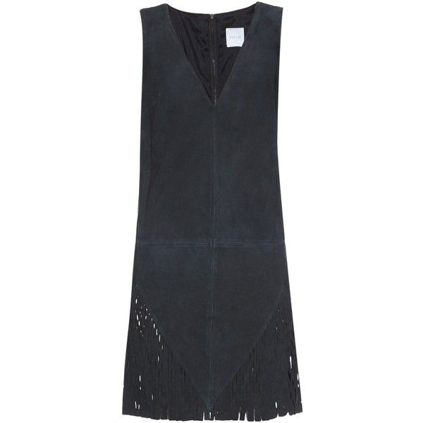 Dion Lee Perforated suede dress (21.890 RUB) ❤ liked on Polyvore featuring dresses, dion lee, navy, deep v neck dress, navy dress, deep v neckline dress and low v neck dress