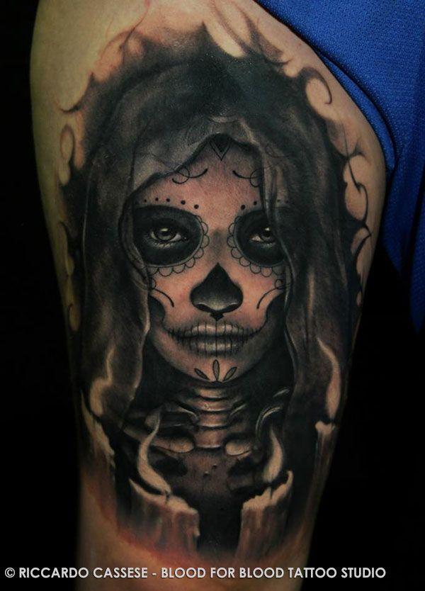 Tatouage d un catrina santa muerte santa muerte tatoo and tattoo - Santa muerte tatouage signification ...