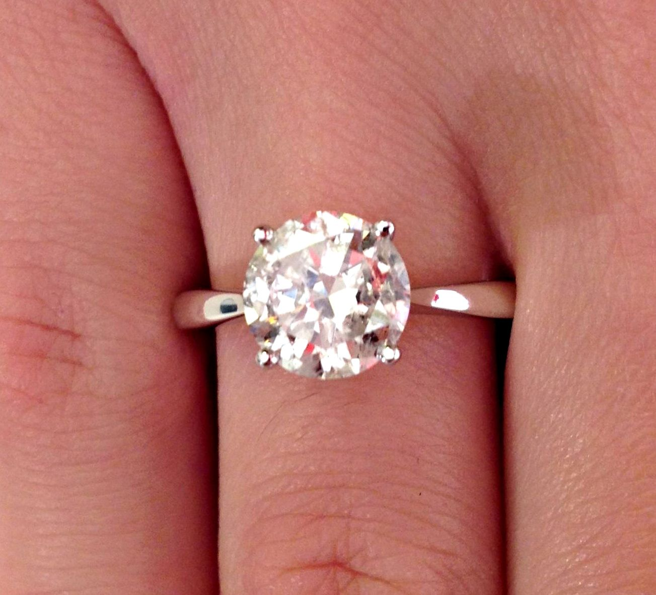 1.79 CT DIAMOND SOLITAIRE ENGAGEMENT RING 14K WHITE GOLD - Diamond ...