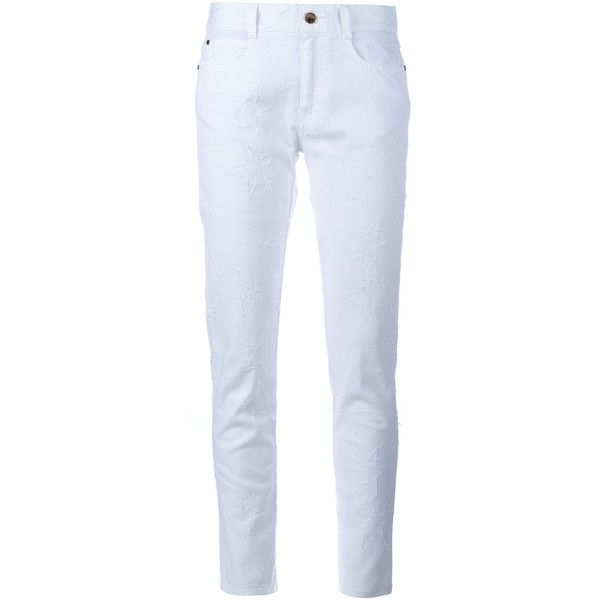 Stella Mccartney Star Embroidered Skinny Boyfriend Jeans (3 210 SEK) ❤ liked on Polyvore featuring jeans, white skinny jeans, skinny leg jeans, stella mccartney jeans, boyfriend jeans and boyfriend fit jeans