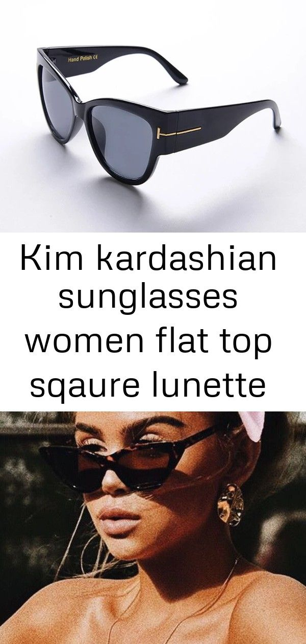 Kim kardashian sunglasses women flat top sqaure lunette luxury brand designer black rivet sun glasse Kim Kardashian Sunglasses Women Flat Top Sqaure Lunette Luxury Brand...
