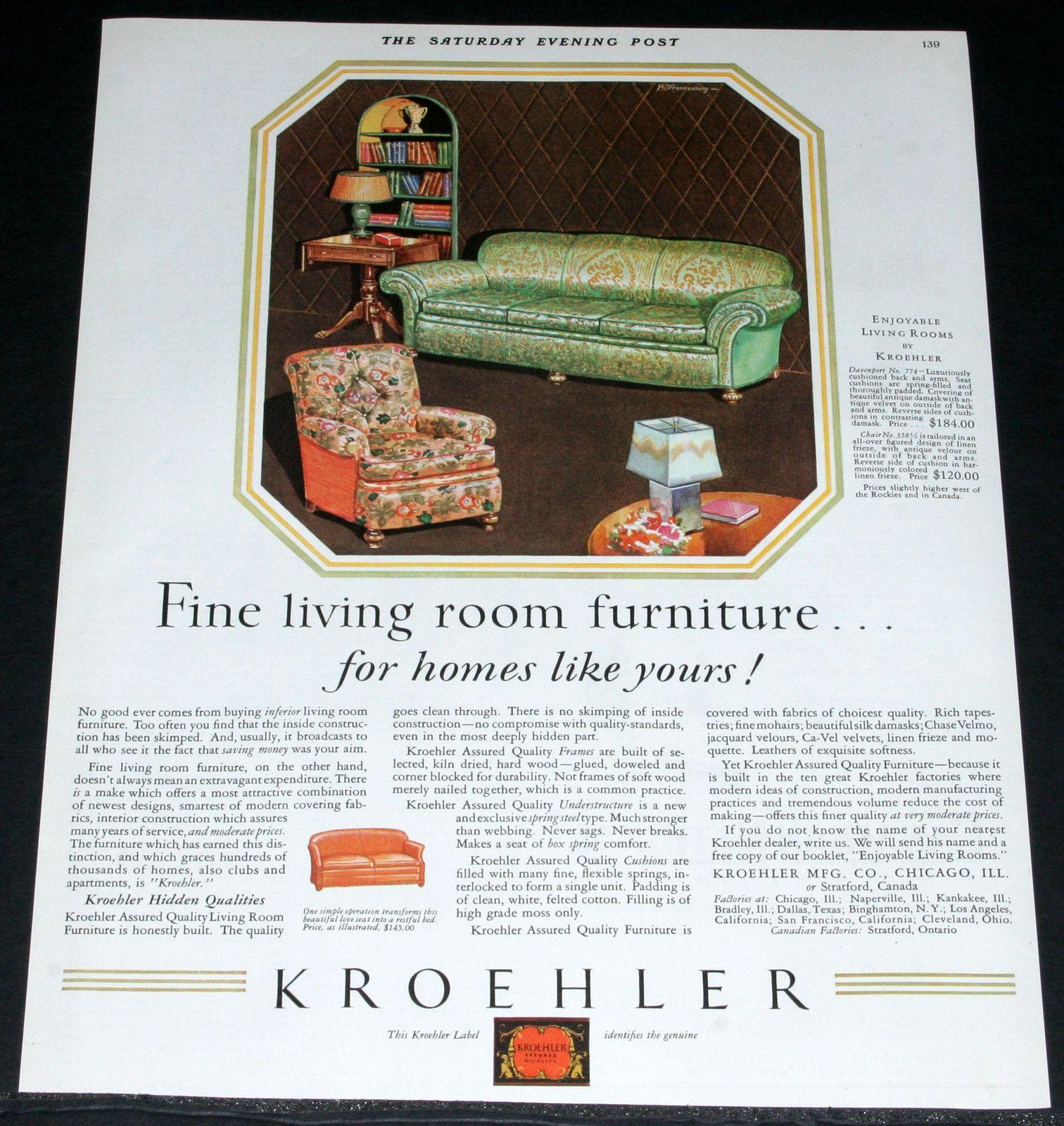 Details About 1929 Old Magazine Print Ad Kroehler Fine