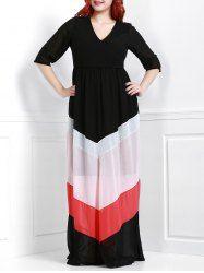 Chic 3/4 Sleeve Zigzag Printed Loose V-Neck Maxi Dress For Women (BLACK,4XL) | Sammydress.com Mobile