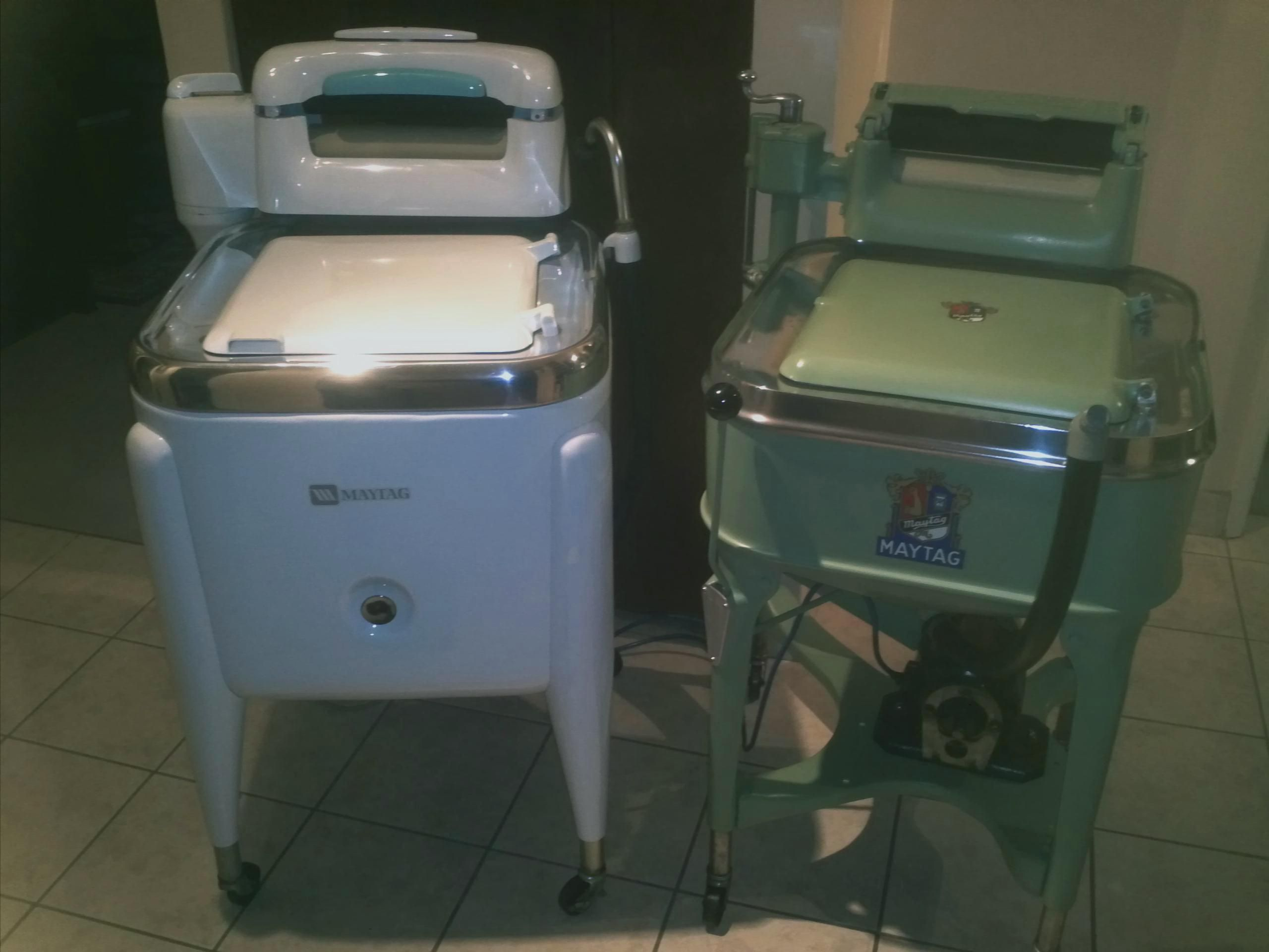 Maytags Side By Side The Old And The Really Old Left Is My 1977 Model E2lp And Right Is My Fully Restored 1935 Model Vintage Laundry Wringer Washer Wringer