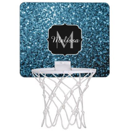 Beautiful Baby blue glitter sparkles Mini Basketball Hoop - light