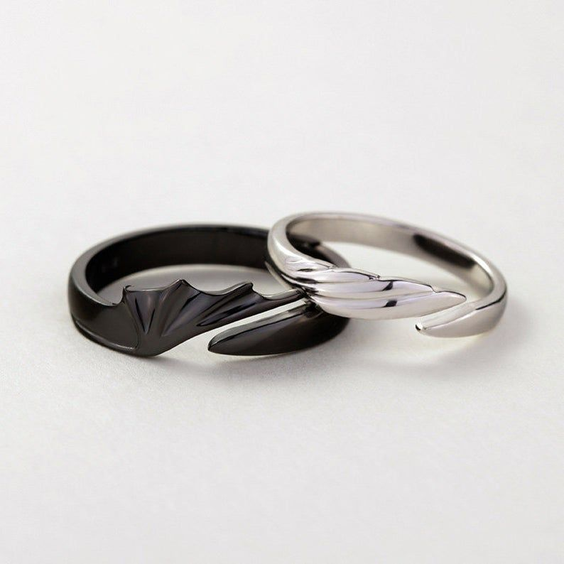 Angels Vs Devils Matching Couples Ring Set Promise Rings For Couples In 2021 Matching Couple Rings Couples Ring Set Couple Rings