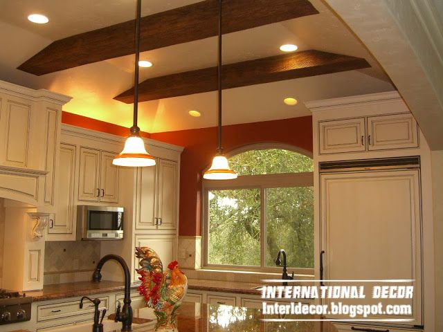 contemporary gypsum false ceiling design for kitchen with lights