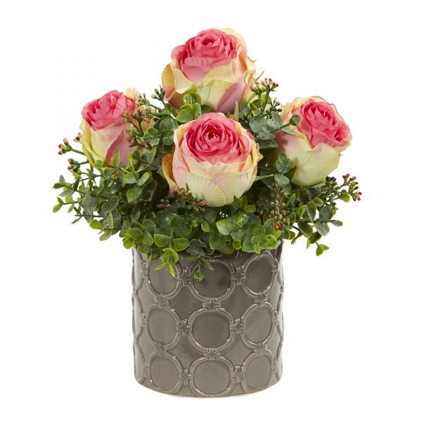 11\u201dH Roses and Eucalyptus Artificial Arrangement in Designer Vase  sc 1 st  Pinterest : faux flowers in vase - startupinsights.org
