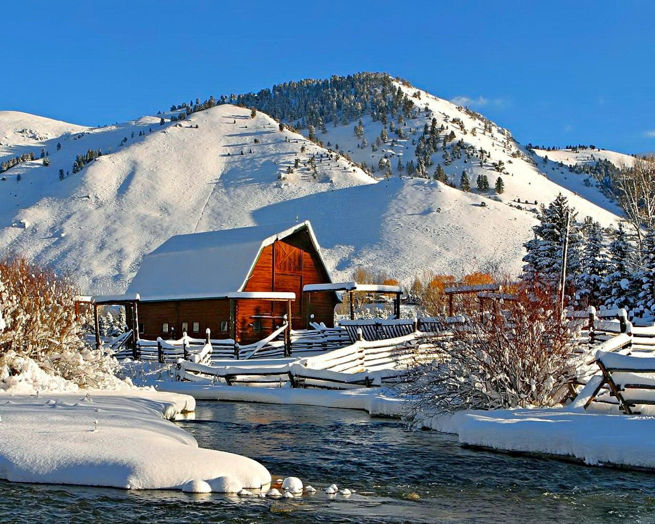 Winter Cottage Desktop Wallpaper With Winter Winter Cottage Lake Mountain Wooden Sky Cold Water Nice Barn Pictures Red Barn Picture Old Barns