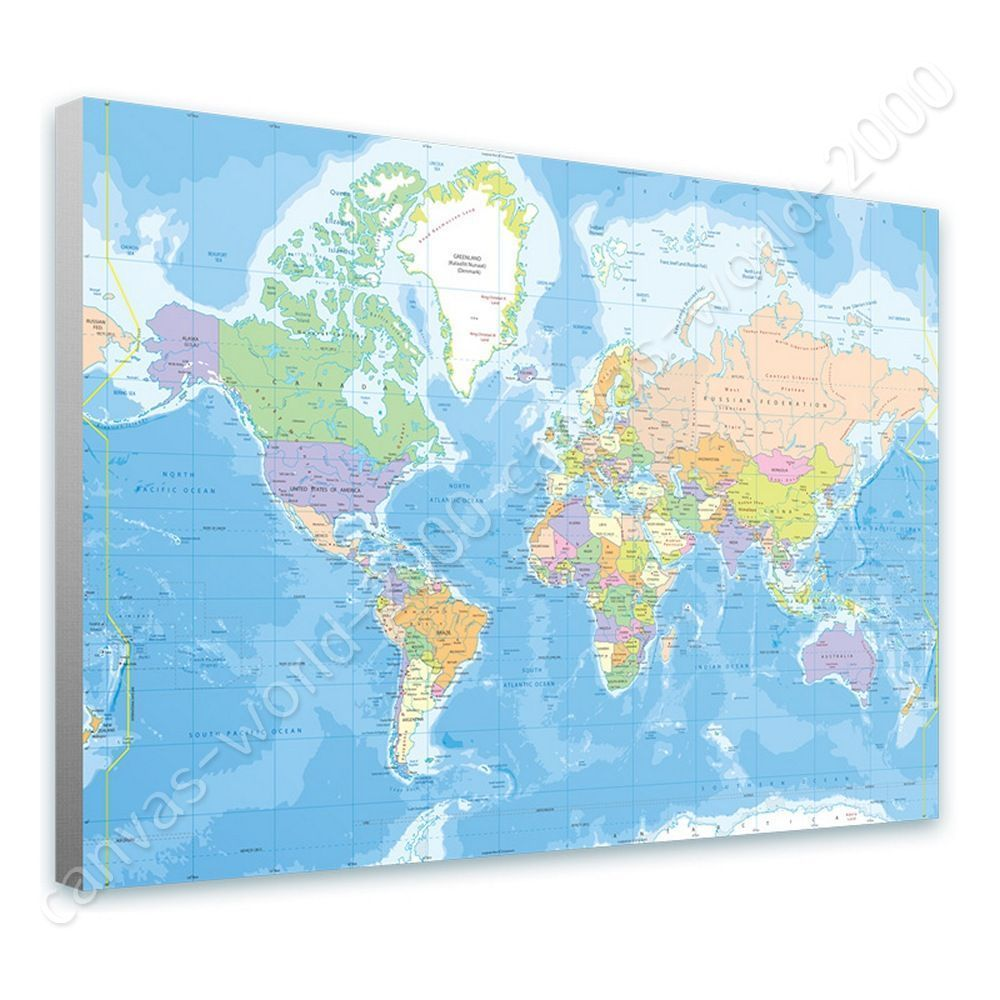 Ready to hang canvas political modern world map framed art for ready to hang canvas political modern world map framed art for living room gumiabroncs Gallery