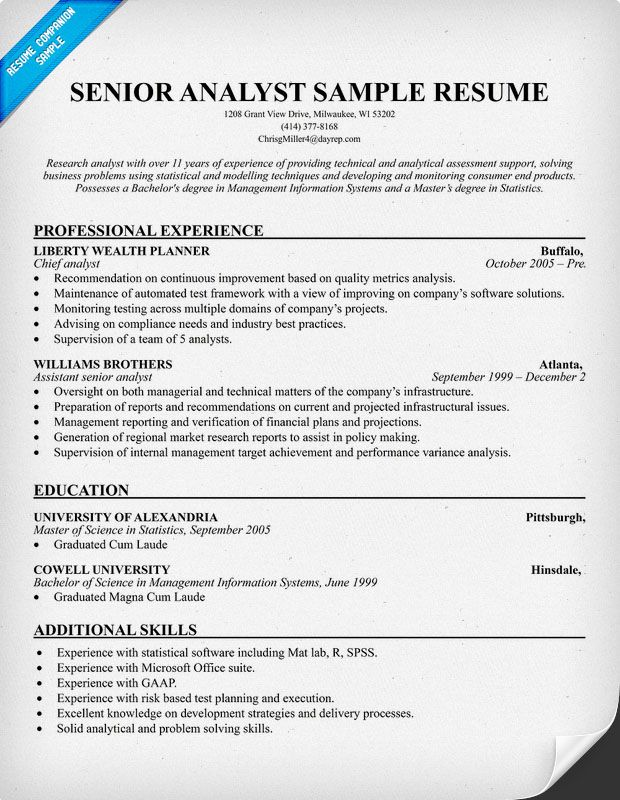 Sr Analyst Resume (resumecompanion) Resume Samples Across - sample resume for financial analyst