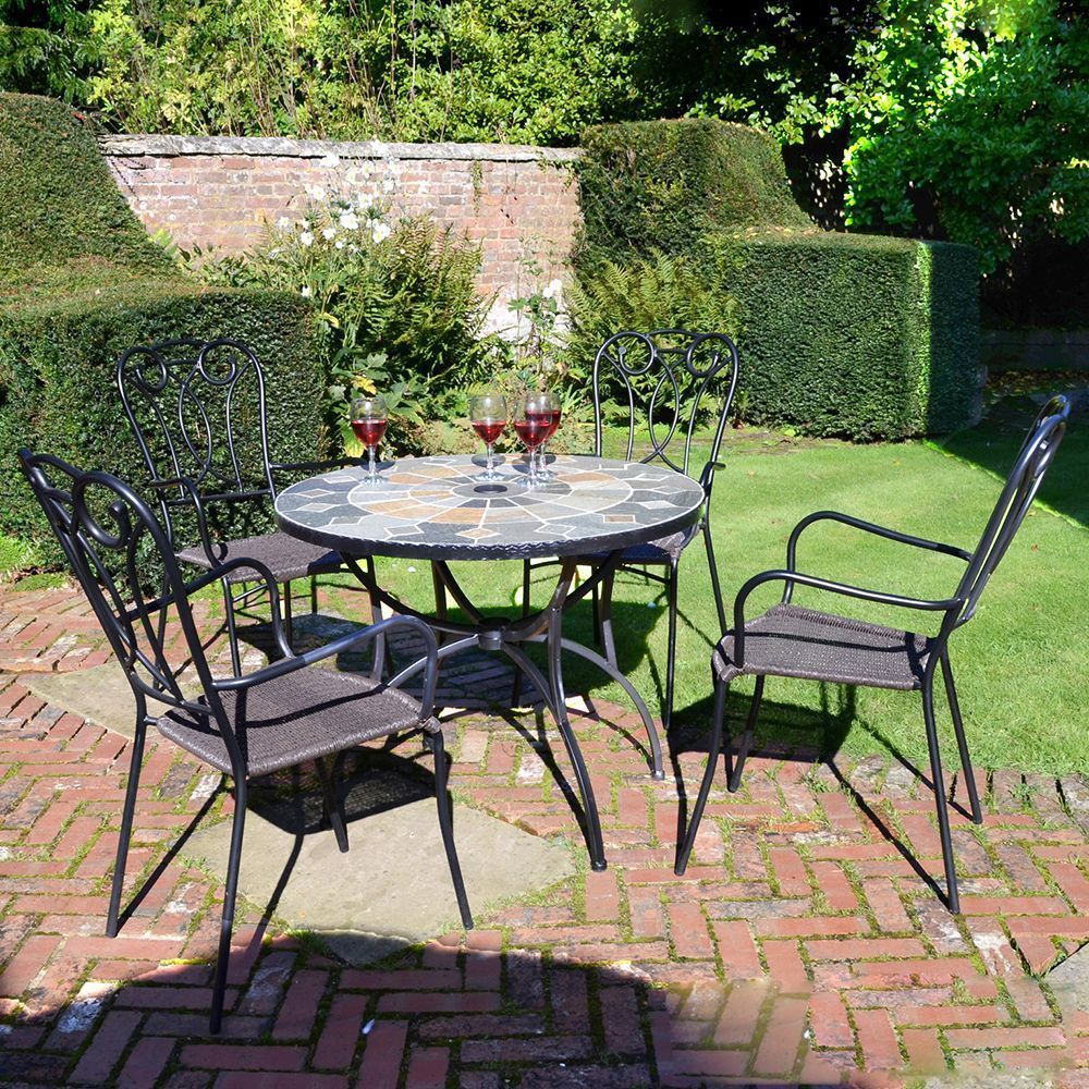 4 Seat Garden Dining Set Mosaic Stone Table Resin Weave Chairs