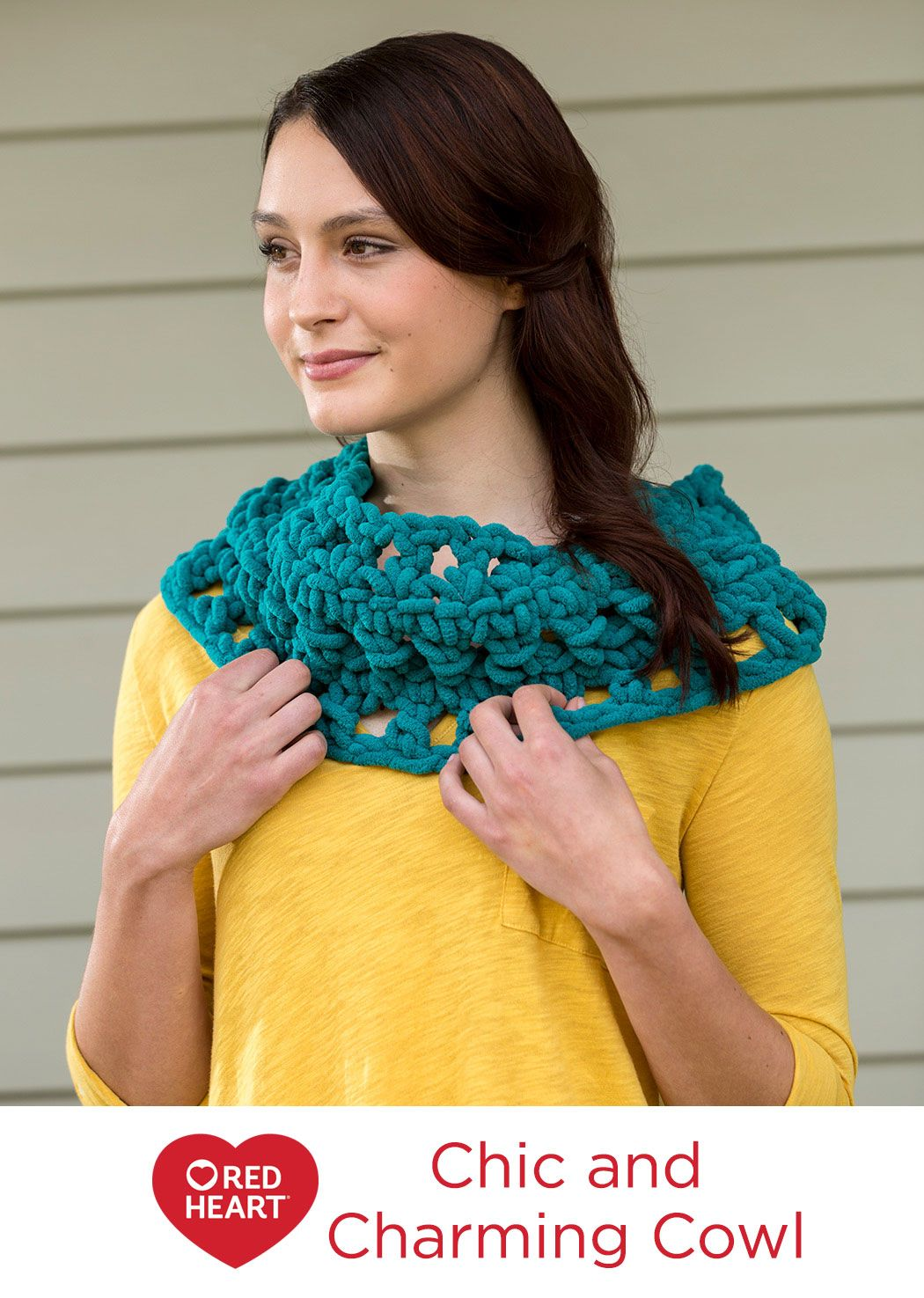Chic charming cowl free crochet pattern from red heart yarns chic charming cowl free crochet pattern from red heart yarns this velvety chenille yarn bankloansurffo Image collections