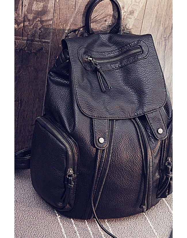 LUCLUC Black Backpacks PU Zipper Expandable Bags - LUCLUC