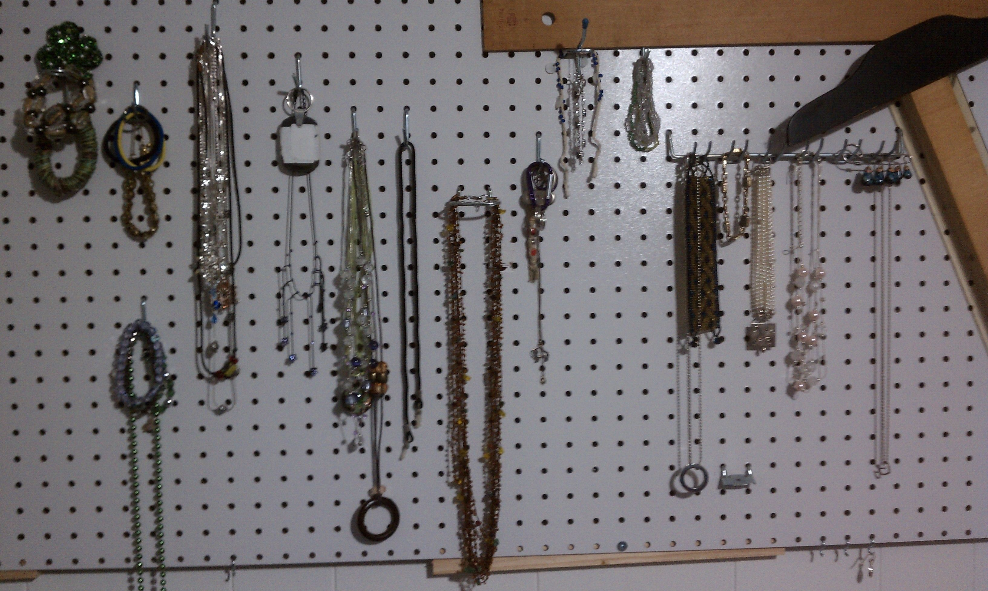 Peg Boards are not just for tools... bracelets and necklaces at a glance!